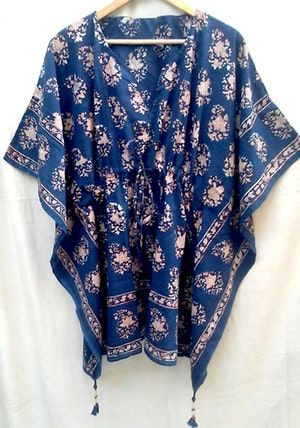 3303770a55a Rare Boho chic Rich Organic Indigo Floral Paisley Anokhi Hand block print  Indian cotton Kaftan Tunic top One size