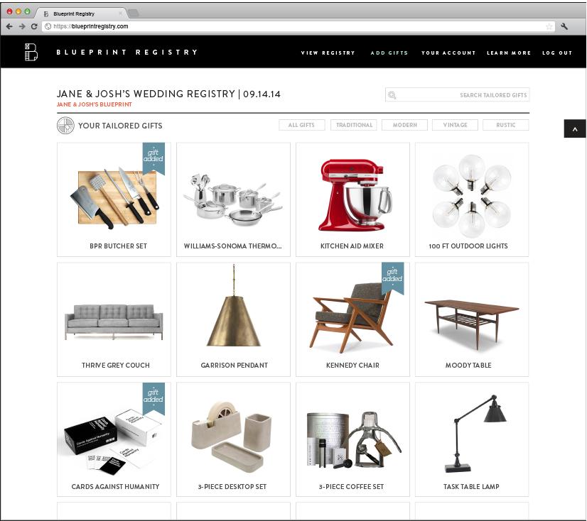 blueprint registry Blueprint registry, Wedding website