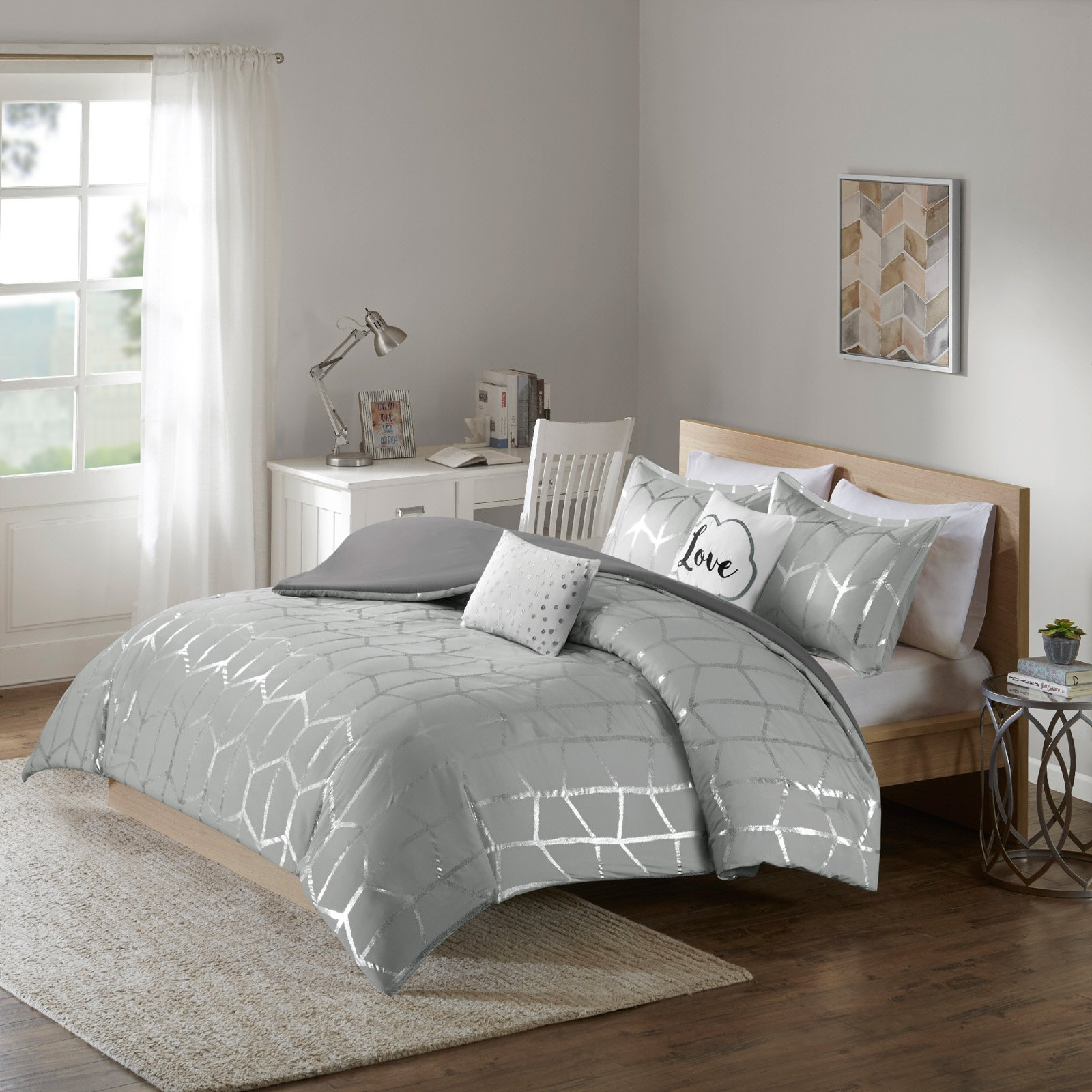 Twin XL Full Queen Cal King Bed Gray Silver Metallic Geo Love 5 pc Comforter Set