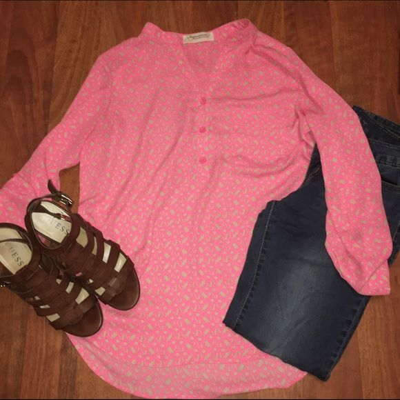 Impressions - Pink and Tan Long Sleeve Top Wear this stylish button down long sleeve top to work and then out to happy hour! Has a functional front pocket and sleeves can be rolled up if desired. In like new condition. Impressions Tops Button Down Shirts