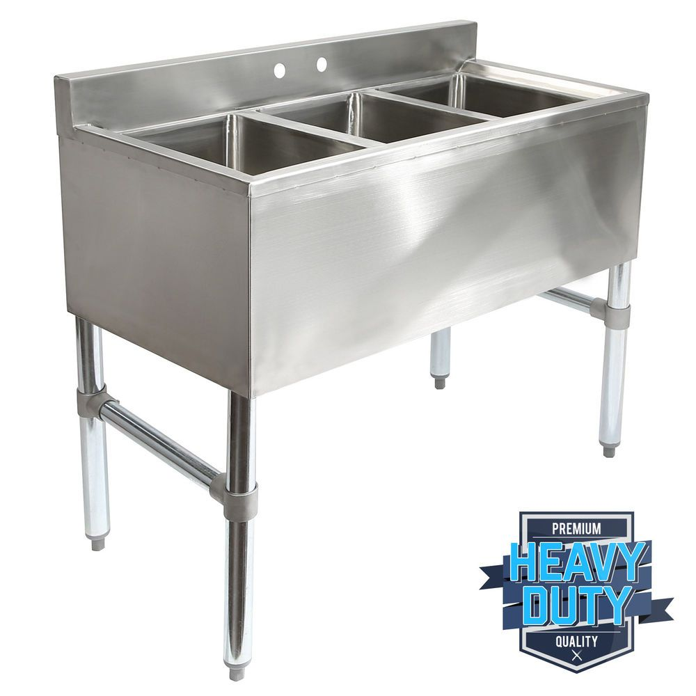 Details About Three 3 Compartment Stainless Steel Commercial