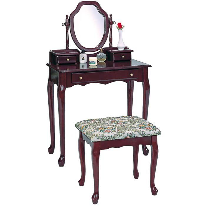 Vanity and Stool with Tapestry Fabric Seat