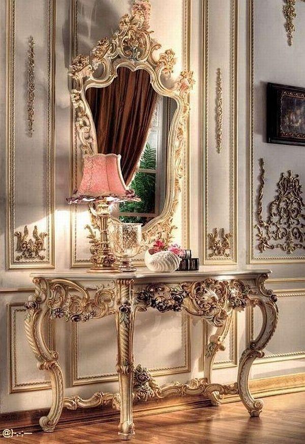 Consola estilo luis xv en madera dorada espejo con marco for Consolas decoracion hogar