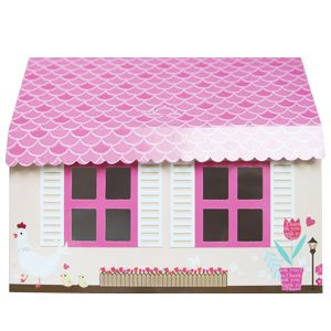 Cupcake Gift Boxes Flowers Bird Printed Pink Roof House