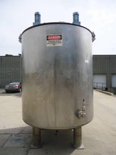 2 200 Gallon Pesch Stainless Steel Vertical Mix Tank Dished Bottom Stainless Steel Tanks Stainless Steel Stainless Steel Legs