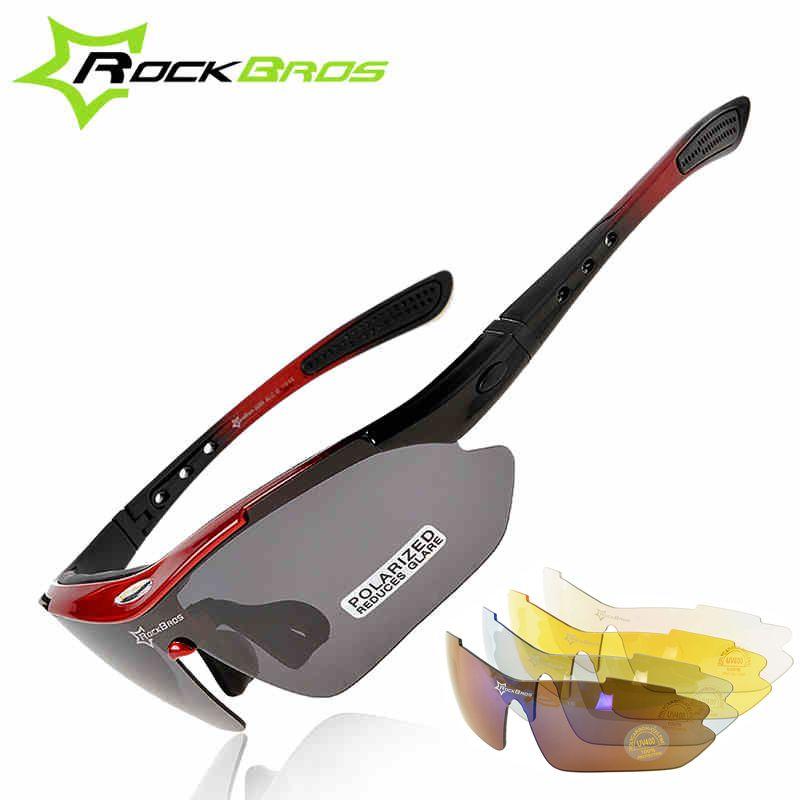 ROCKBROS Gepolariseerde Sport Mannen Zonnebril Road Fietsen Bril Mountainbike Fietsen Bescherming Goggles Eyewear 5 Lens