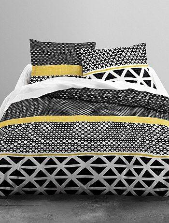 Parure de lit réversible imprimé graphique noir blanc jaune linge
