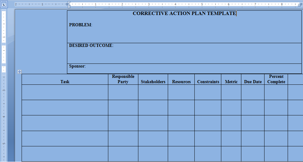 Corrective Action Plan Template Word – Project Management Templates ...