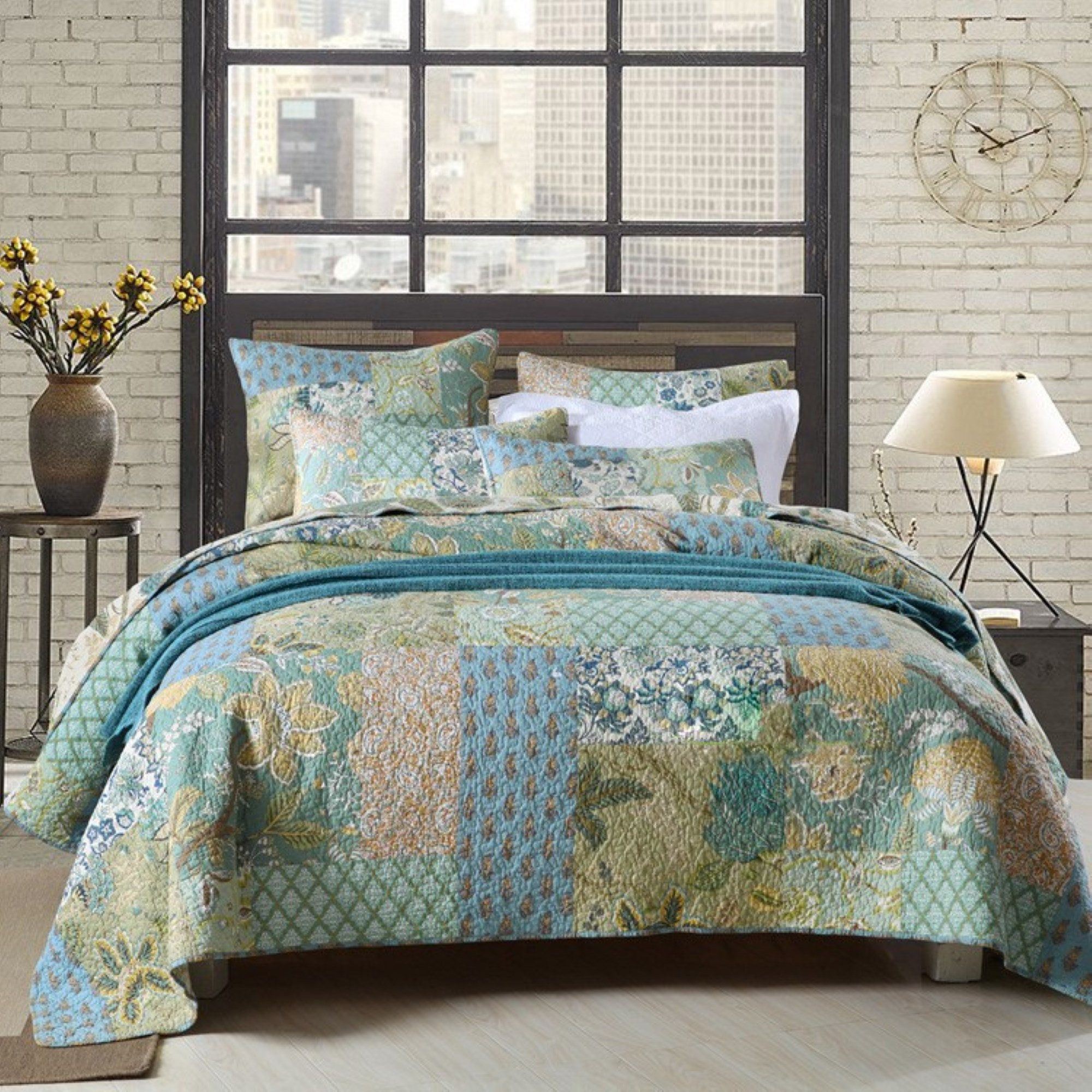 Hand Made King Size Quilt Patchwork Quilt Set With Pillows Farmhouse Quilted Blanket Rag Quilt One Of In 2020 Quilt Sets Bedding King Size Quilt Sets Quilt Sets