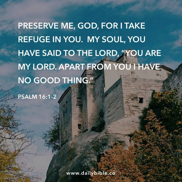 Psalm 16 1 2 Preserve Me God For I Take Refuge In You My Soul Have Said To The Lord Are Apart Fr Bible Image Inspiration Living Paraphrase