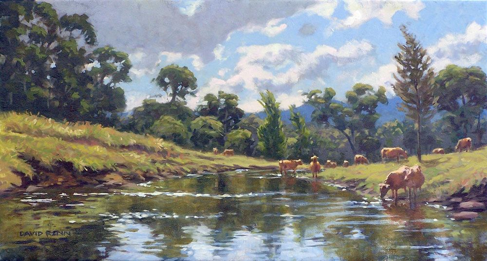 Cows in the Creek by postapocalypsia on DeviantArt