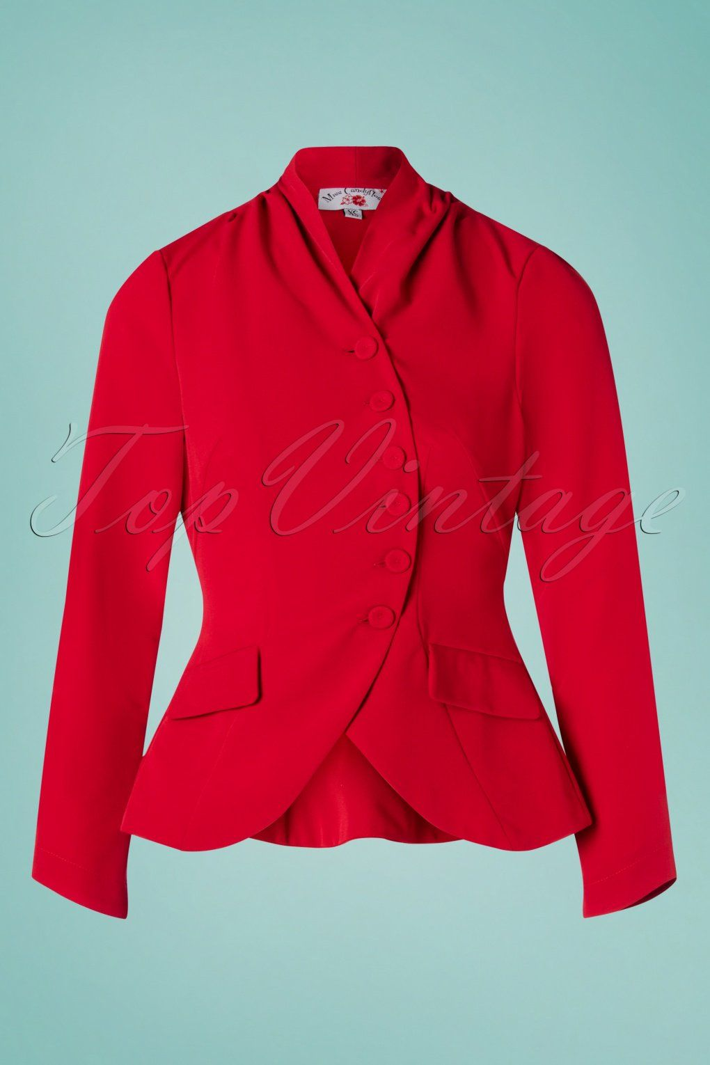 This 40s Clemence Jacket In Red Oozes 1940s Style Clemence Features Long Sleeves A Row Of Buttons And From The Waist She R Jackets Swing Fashion 50th Clothes