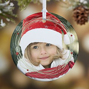 Personalized Photo Christmas Ornament - Holiday Wreath - 1 ...