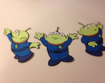 Set of 3 different Alien die cuts from Toy Story by scrappinbjs. Explore more products on http://scrappinbjs.etsy.com