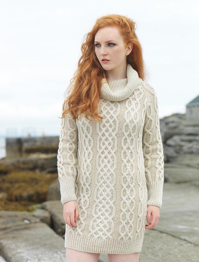 Cowl Neck Aran Plaited Sweater Dress | Sweaters40 | Pinterest ...