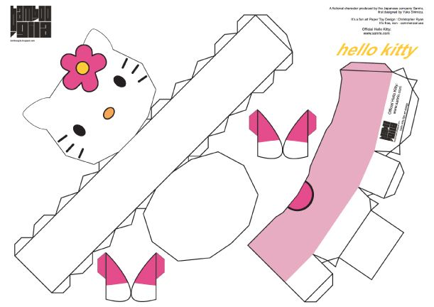 Papertoy hello kitty de bamboogila paper toys hello for Hello kitty cut out template