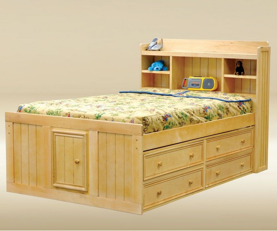 Lacquered Maple Wood Captain Bed With Front Cabinet Door