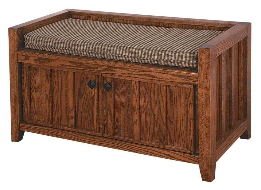 Amish Two Door Mission Storage Bench | Amish Benches 12389