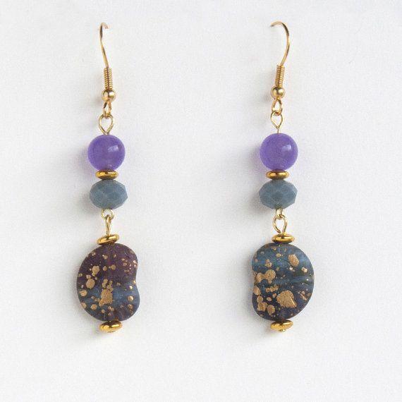 Purple Jade Beaded Earrings Shell Seashell Earrings by bleuluciole