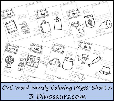 FREE CVC Coloring Pages Short