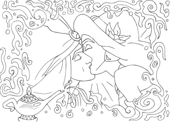 Aladdin Jasmine Kiss Disney Coloring Pages Art Coloring Books