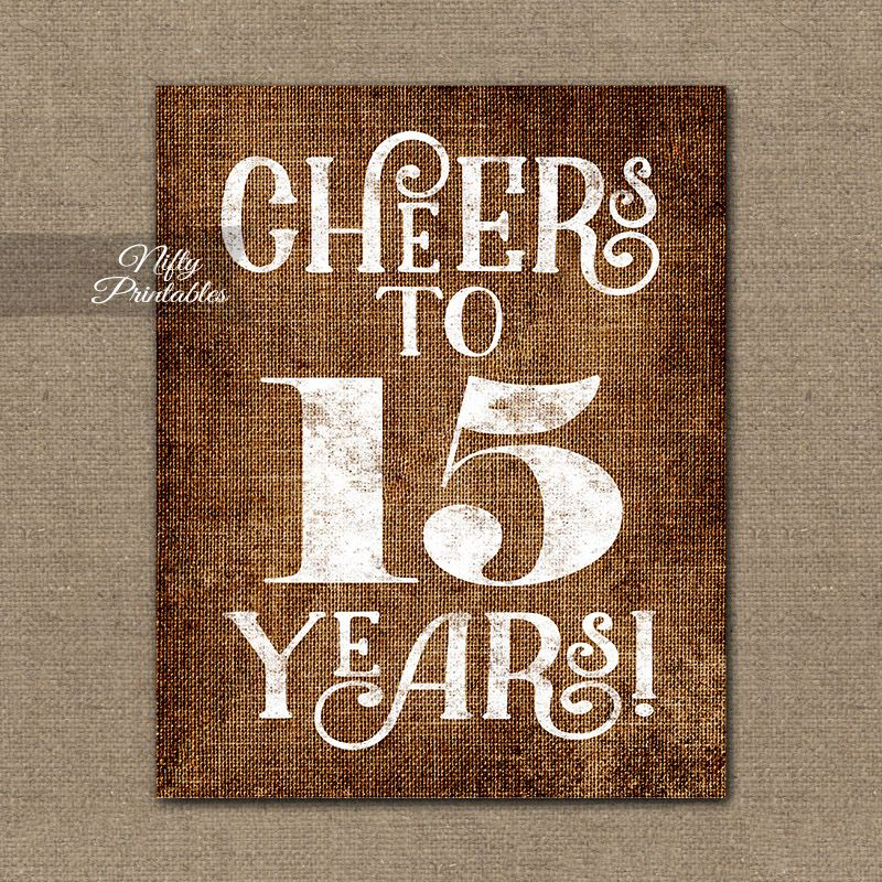 15th Anniversary Sign - Brown Linen #21stbirthdaysigns