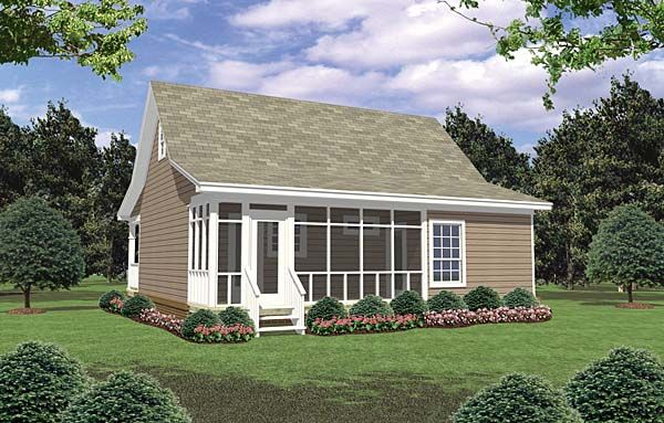 Cottage country farmhouse house plan 59096 double garage for Patio home plans with rear garage