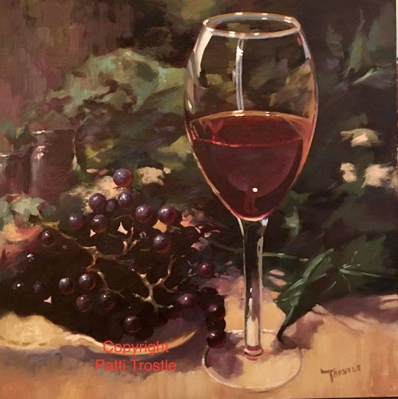 Wall art wine collector Wine lover gift wine glass wine oil painting Original red wine and grapes oi