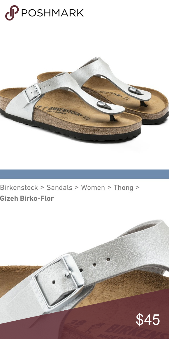 0ec5079db Birkenstock Gizeh Birko-Flor Thong Sandals Silver Birkenstock Gizeh Birko-Flor  thong sandals in Graceful Silver. Well-loved, but plenty of life left!