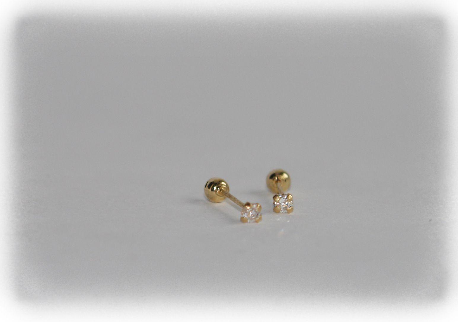 94d2ddb6480e Broqueles de 2mm en oro 10K con zirconia blanca