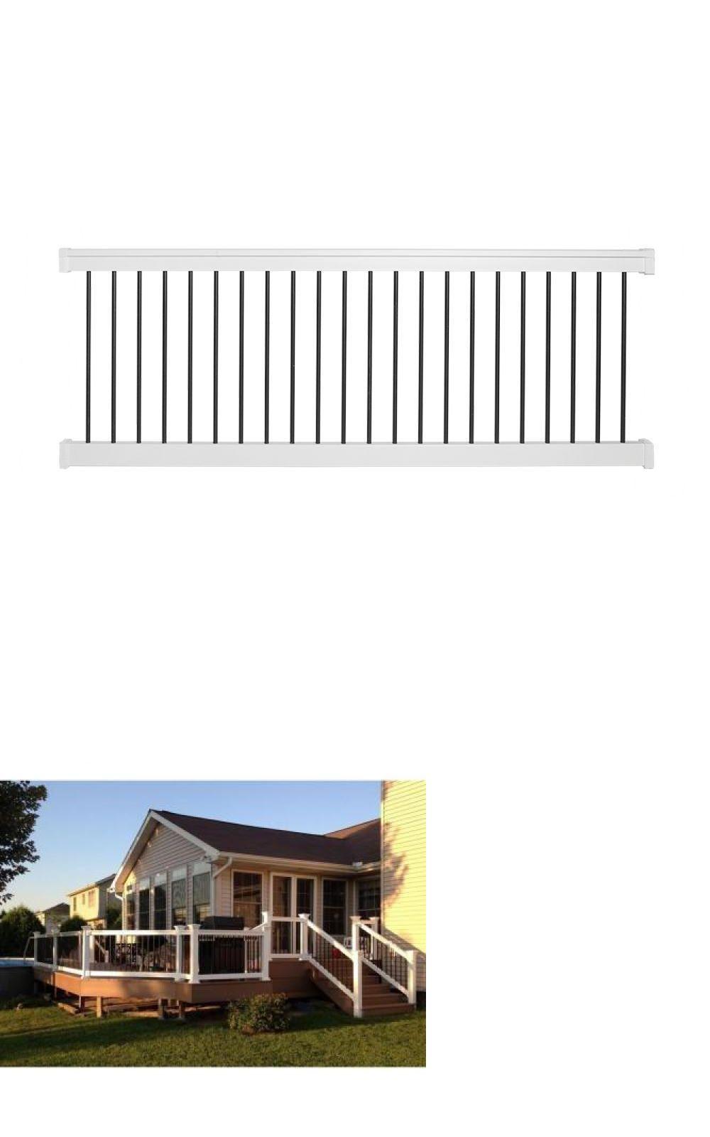 Railings straight railing kit white vinyl black aluminum