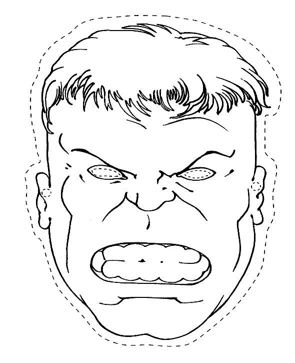 The Head Of The Hulk Coloring Page paper craft Pinterest