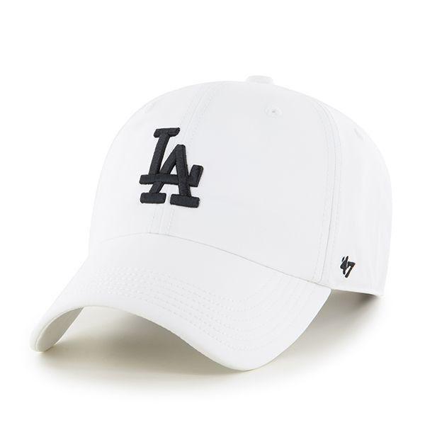 LA Dodgers White/Black Dad Hat Velcro Strap '47 Brand