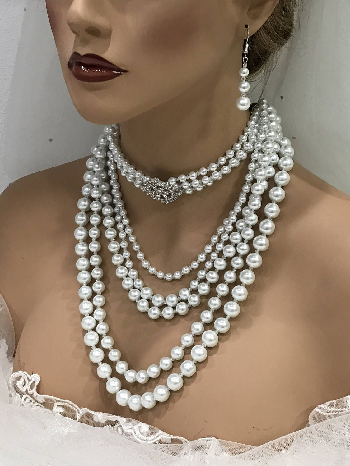 176ce69af6f98 Wedding jewelry set, white pearl Victorian Gothic choker necklace ...