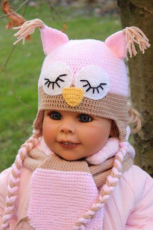 Häkelanleitung für Babymütze Schlafende Eule | Baby Mütze ...