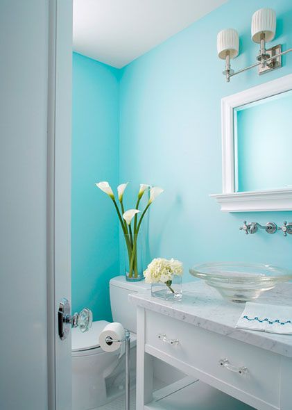 Delightful Aqua Powder Room With Walls Of Aqua Blue As Backdrop For Nickel Double Sconces And White Bathroom Colors Blue Bathroom Colors Color Bathroom Design