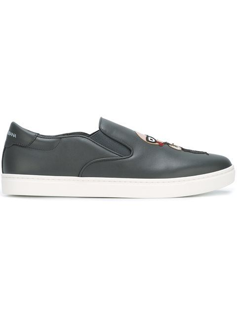 Official Mens Dolce Gabbana Patched Slip On Sneakers Outlet Store