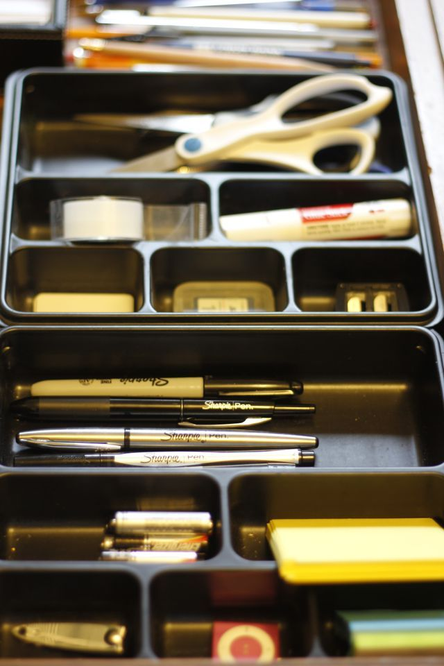 Lots of ideas for home office organization--closet AND drawers. #EverydaySharpie #PMedia #beforeandafter