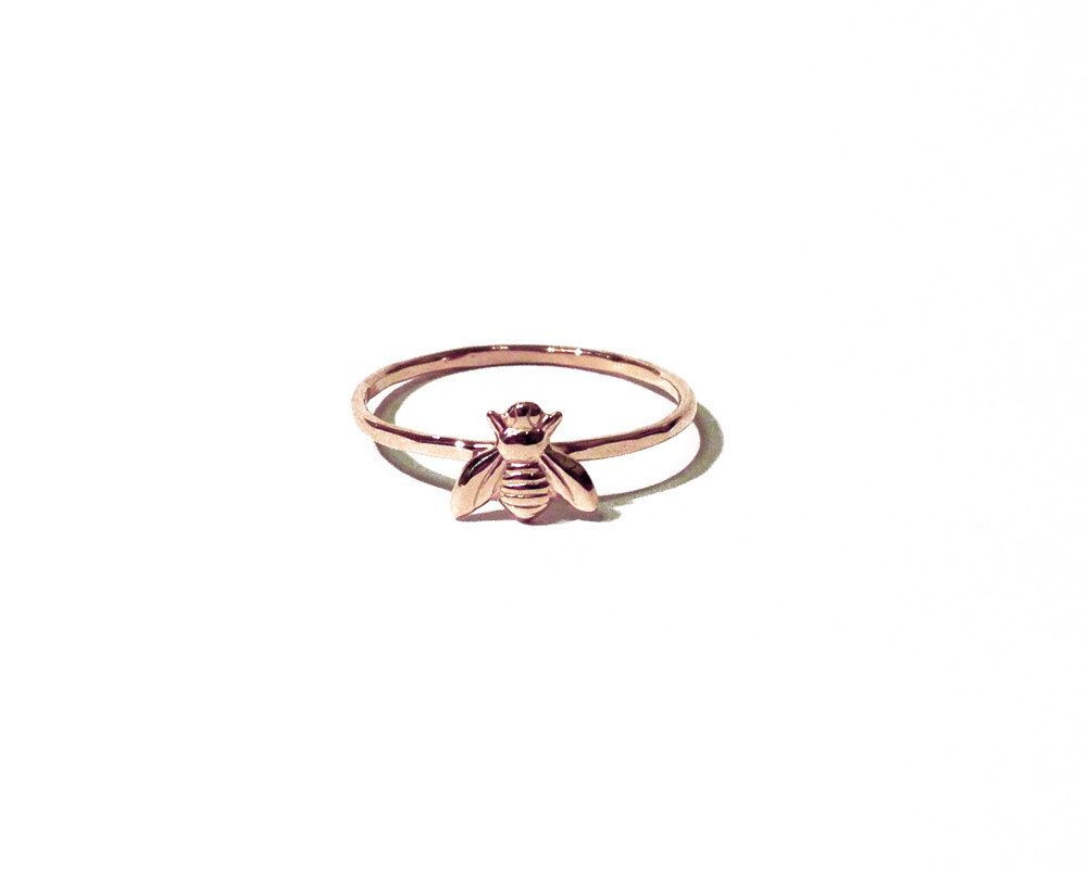 Tiny bee ring - 14k rose gold tiny bee ring, pink gold ring, stacking ring, knuckle ring, midi ring by AnnieLesperance on Etsy https://www.etsy.com/listing/221505348/tiny-bee-ring-14k-rose-gold-tiny-bee