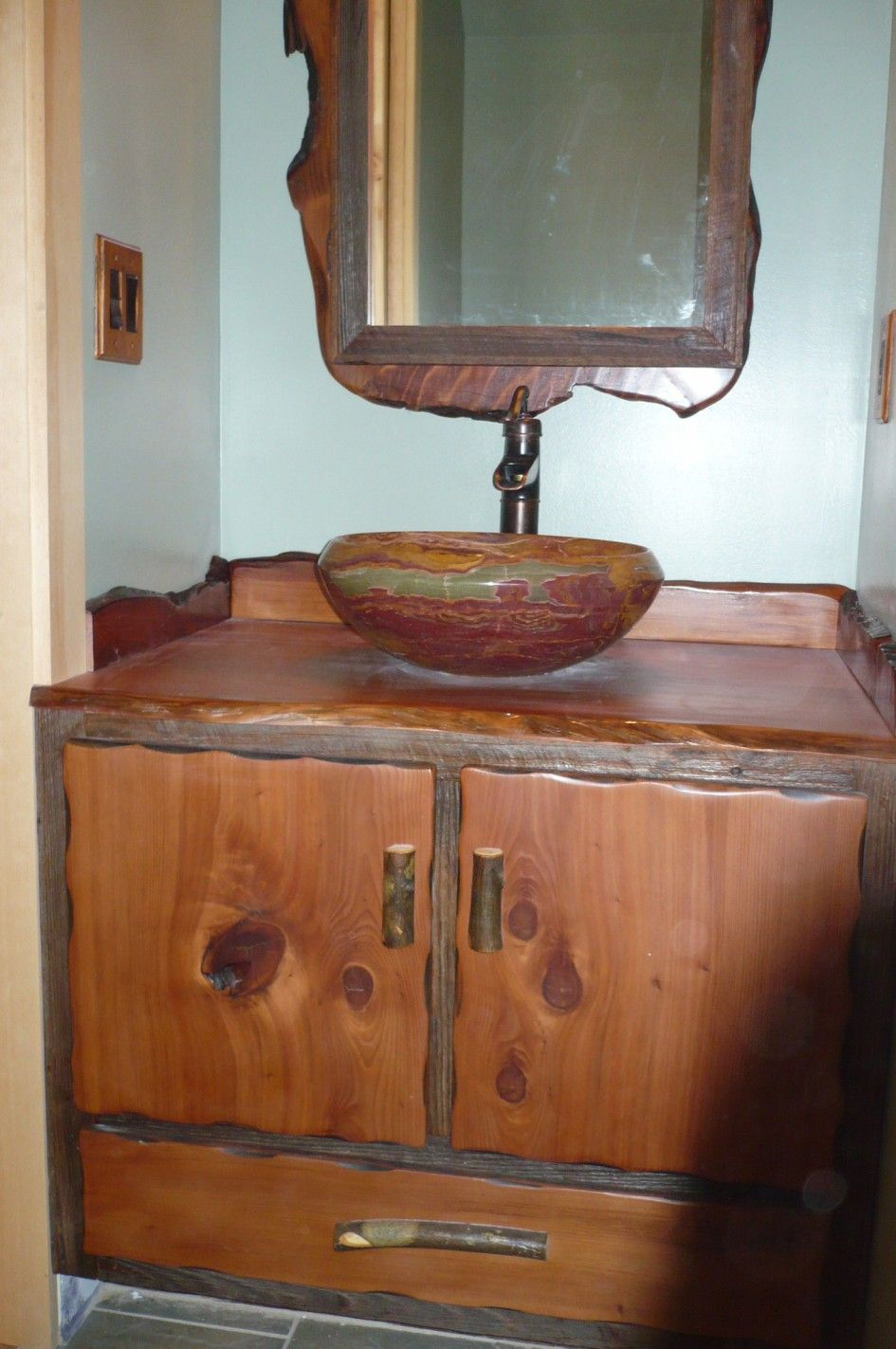 Bathroom Terrific Single Bowl Pottery Sink with Teak Wood