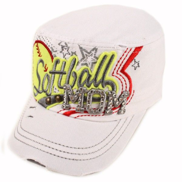 Softball Mom Cadet Cap White  Rock this softball cadet like the #1 fan that you are. Everyone will be sure to notice your style and team spirit!  Softball MOM  Distressed cadet  Adjustable back