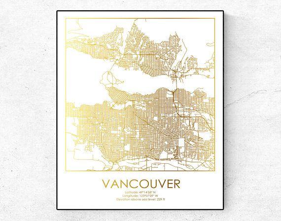 Vancouver Map, Vancouver Print, Vancouver wall decor, City Map print ...