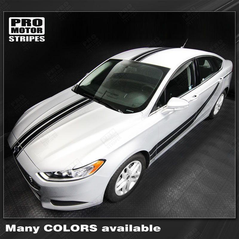 Ford Fusion 2013 2016 Top And Sides Double Stripes Set Ford Fusion Ford Stripes