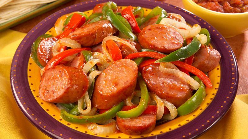 Fast and fabulous smoked sausage fajitas recipe smoked for Italian entree recipes