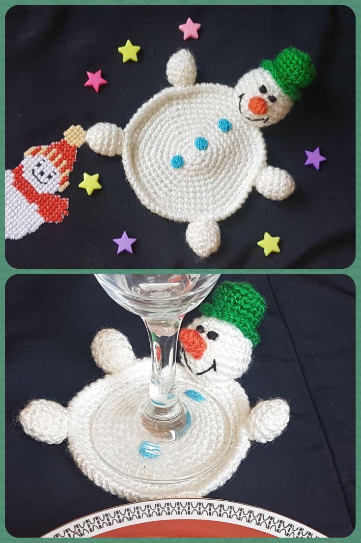 Coaster Christmas 2021 Crochet Christmas Coaster Stocking Stuffer Christmas Table Decoration Drink Coaster Snowman Ornament Kids Round Xmas Coaster Crochet Snowman In 2021 Christmas Crochet Patterns Snowman Crafts Diy Christmas Crochet