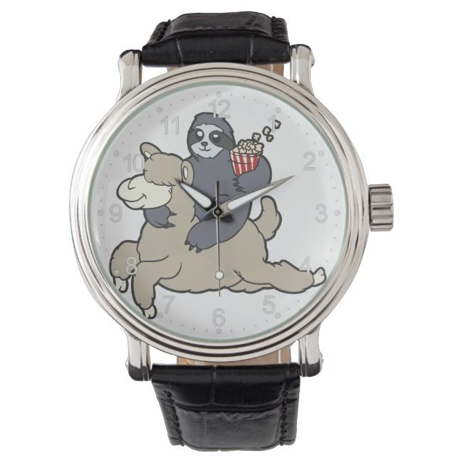 Sloth Riding a lama cartoon Watch |  Sloth Riding a lama cartoon Watch