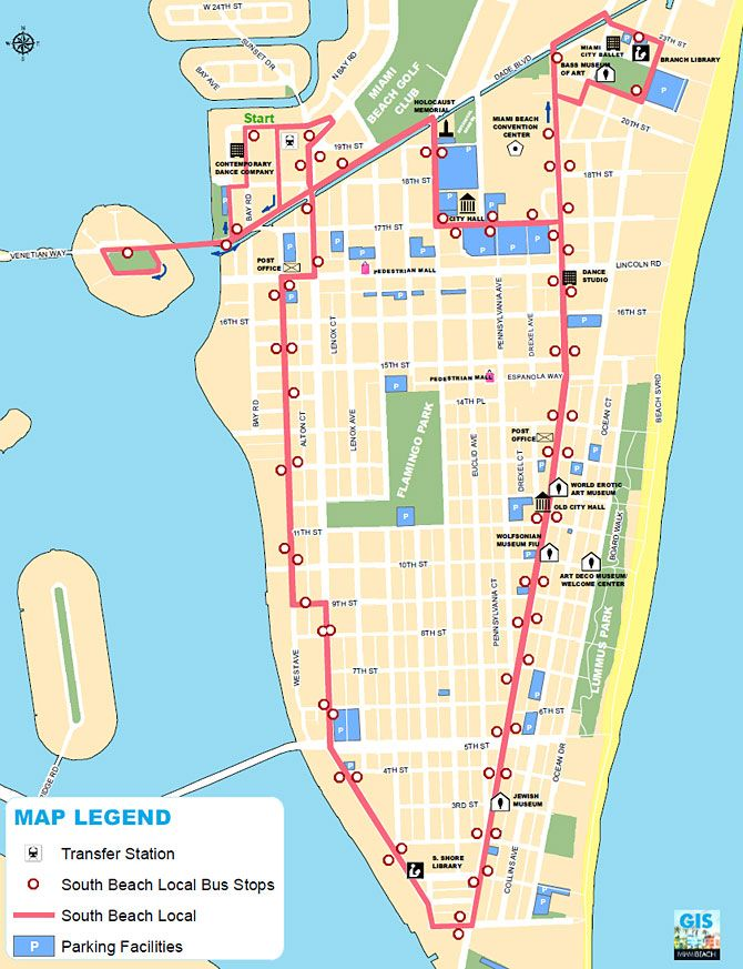 Discover All South Beach Has To Offer With Just 25 Cents To Ignite Your Imagination The Local Shuttle Bus Circle South Beach Map South Beach Miami Beach Local