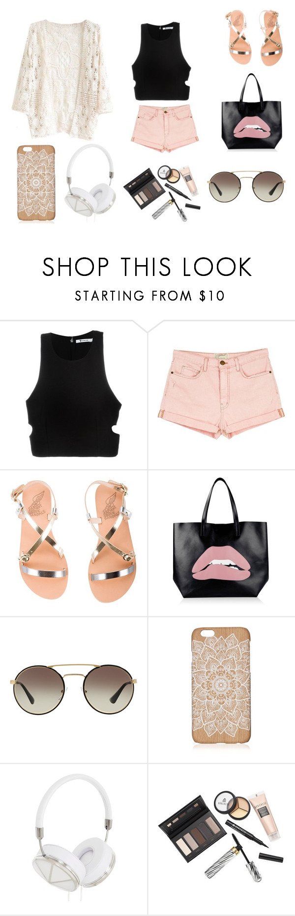 """""""Hello beautiful"""" by emma-r-villanueva ❤ liked on Polyvore featuring T By Alexander Wang, Current/Elliott, Ancient Greek Sandals, RED Valentino, Prada, Frends and Borghese"""