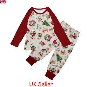 5ca911c733 XMAS PJs Kids Toddler Baby Boys Girls Christmas Nightwear Pyjamas Pajamas  Set UK