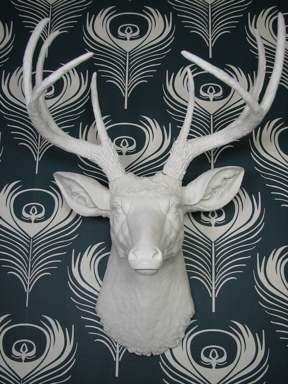White Porcelain Deer Head Ceramic Deer Head Modern Wallpaper Home Decor Accessories